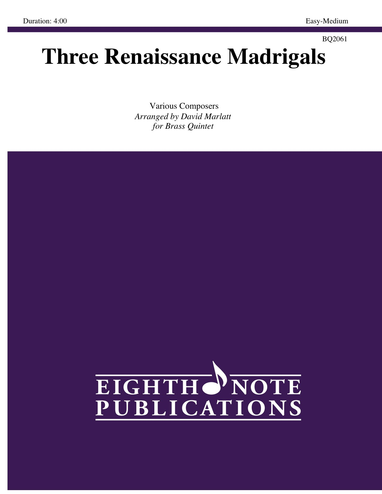 Three Renaissance Madrigals -  Various