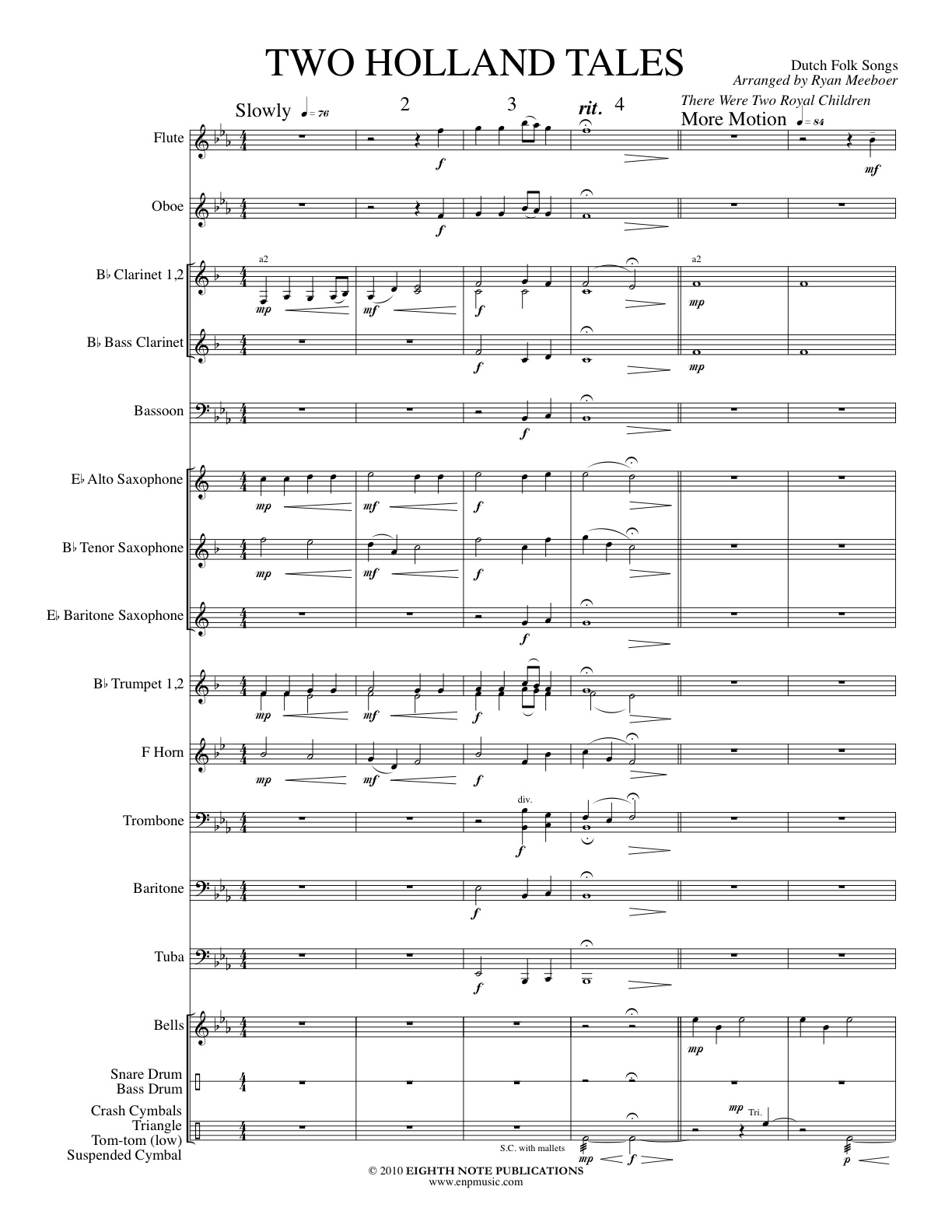 Two Holland Tales for Concert Band - Dutch Folk Songs - Wind