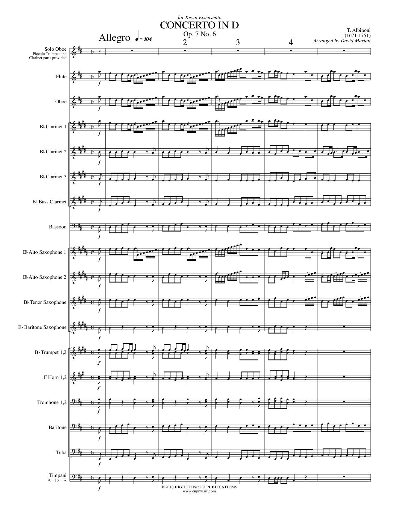 Concerto in D - Op. 7, No. 6 - Tomaso Albinoni