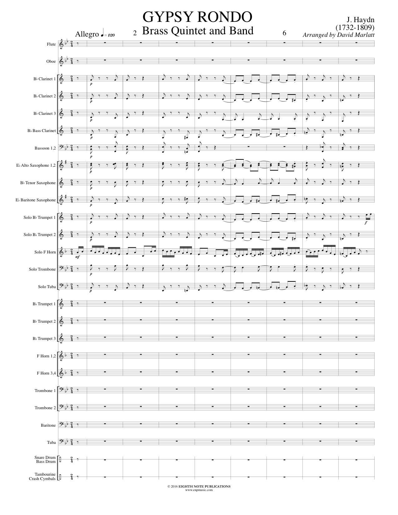Gypsy Rondo - Brass Quintet and Band - Franz Joseph Haydn