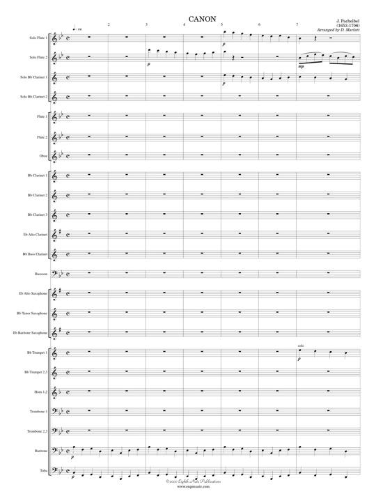Canon (2 Flutes, 2 Clarinets with Band) - Johann Pachelbel