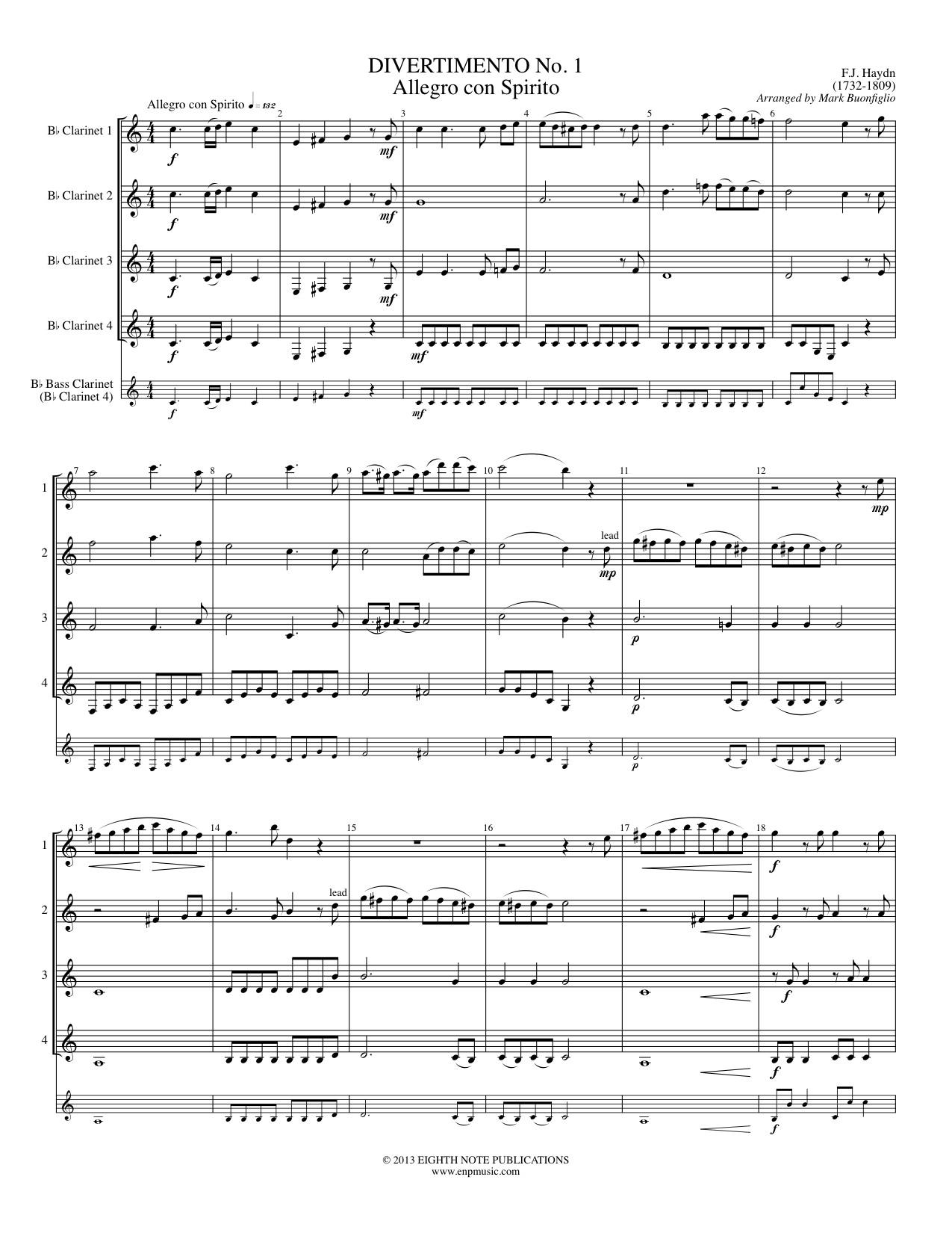 Divertimento No. 1 - Allegro con Spirito - Franz Joseph Haydn
