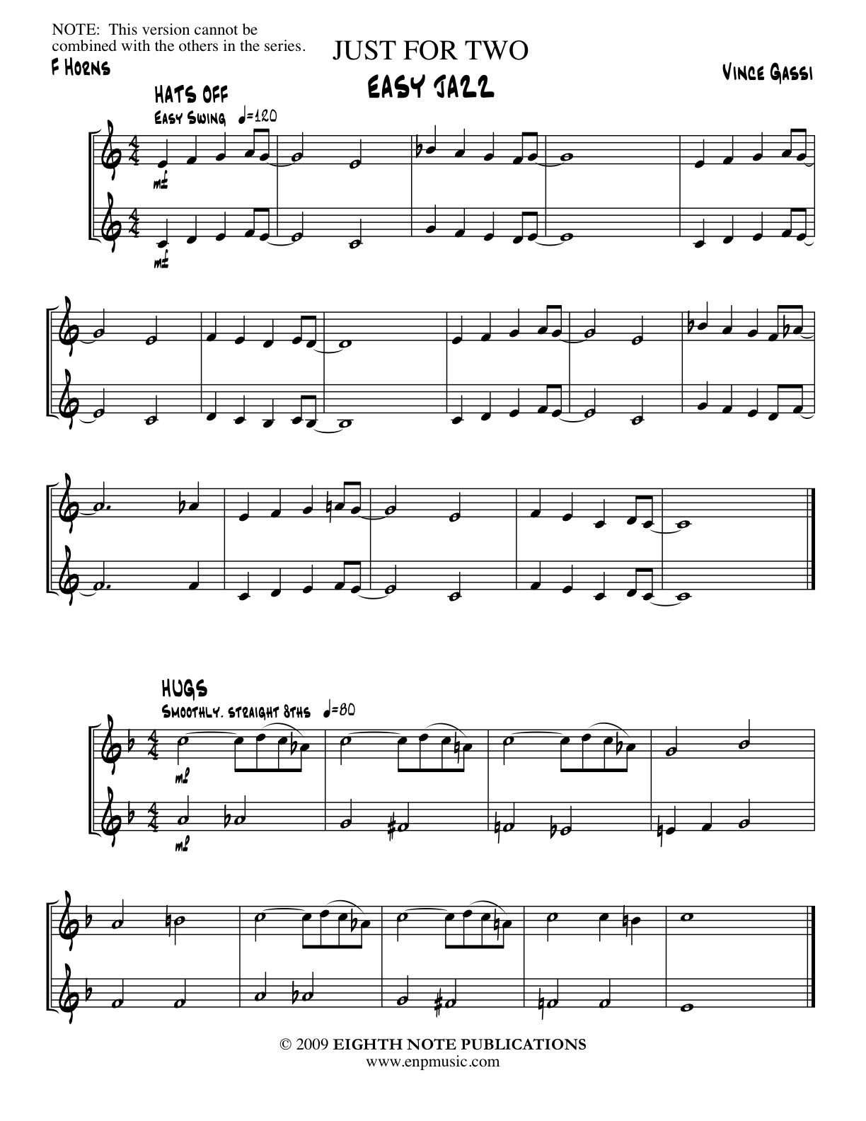 Just for 2 - EASY JAZZ - Stand Alone for 2 F Horns - Vince Gassi