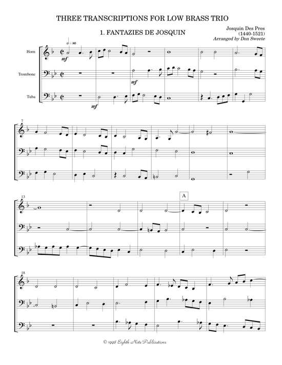 Three Transcriptions for Low Brass Trio -  Various