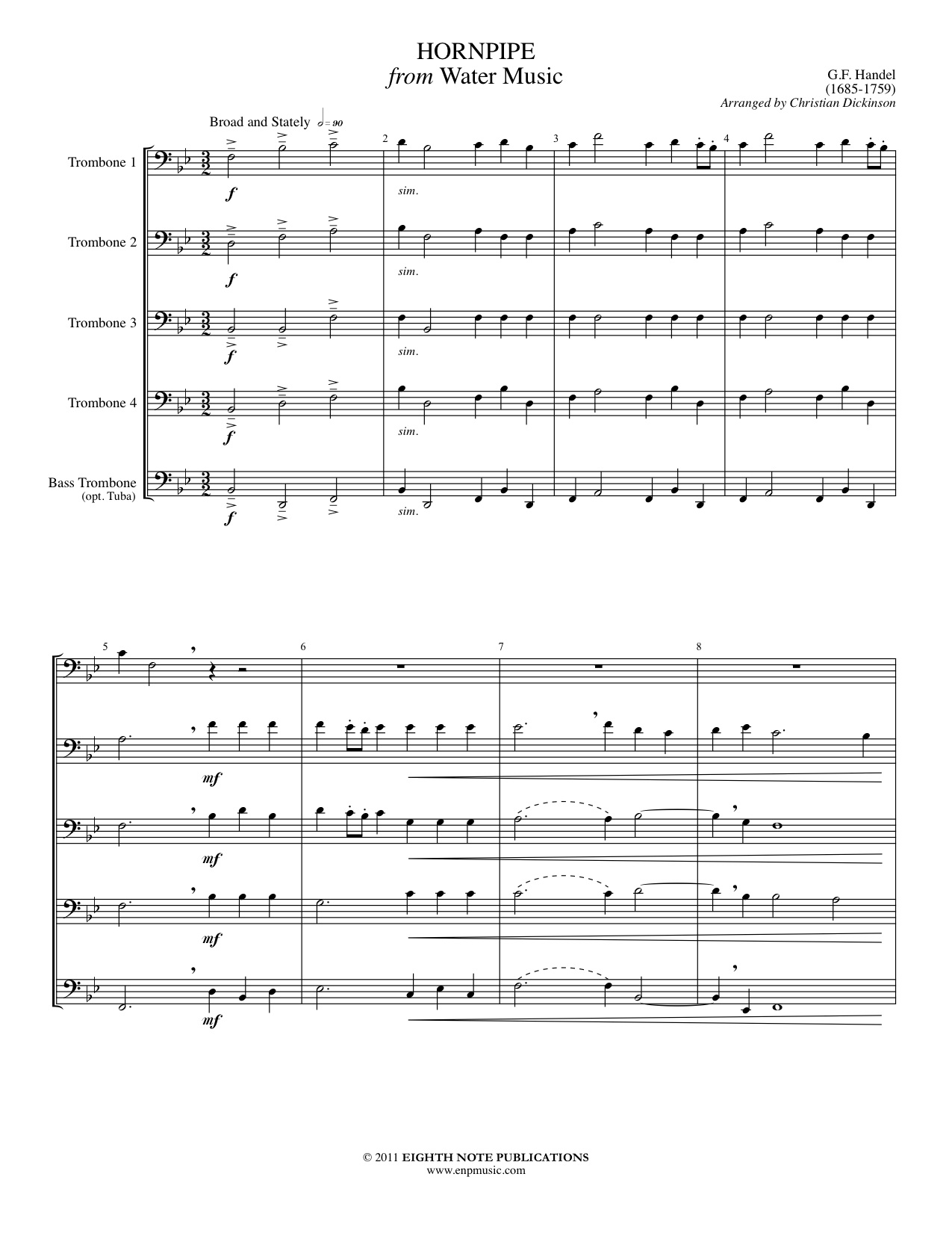 Hornpipe from Water Music for 5 Trombones - George Frederic
