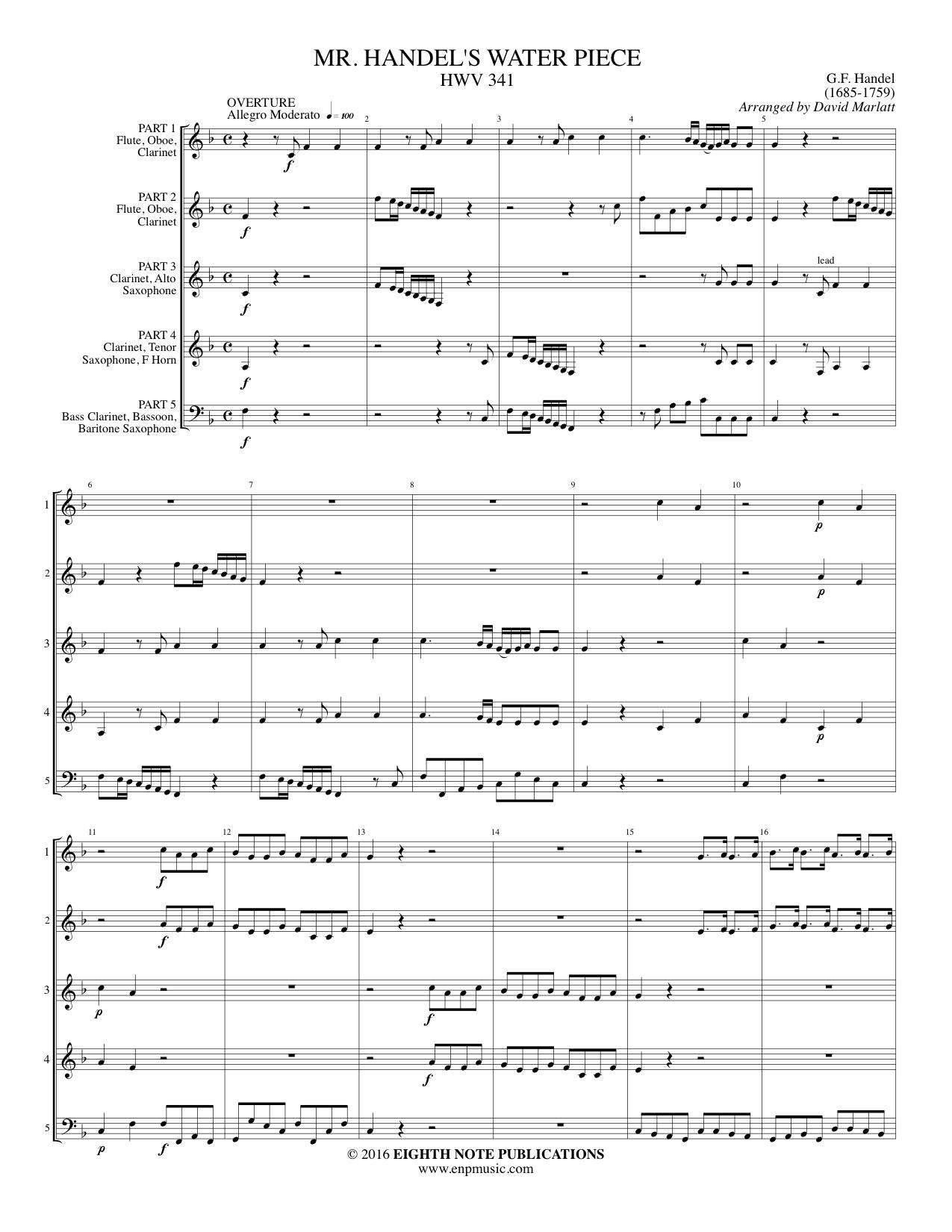 Eighth Note Publications - Mr Handel s Water Piece - HWV 341