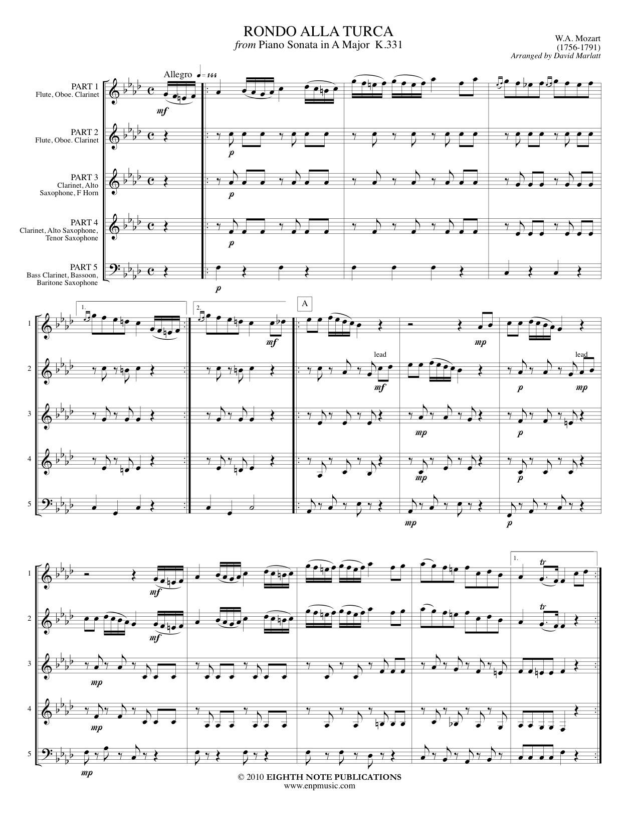 Alla Turca Mozart eighth note publications - rondo alla turca